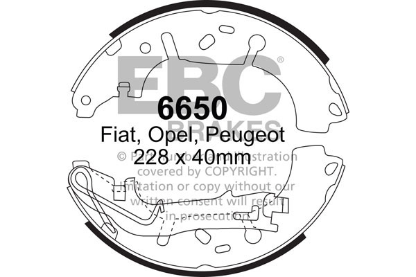 6625 EBC Rear Brake Shoes fit FIAT Panda