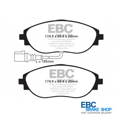 DP41497R EBC Yellowstuff Rear Brake Pads fit AUDI SEAT SKODA VW